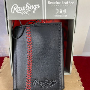 Rawlings Baseball Red Stitch Black Leather Wallet